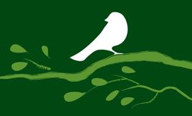 illustratie vogel op takje